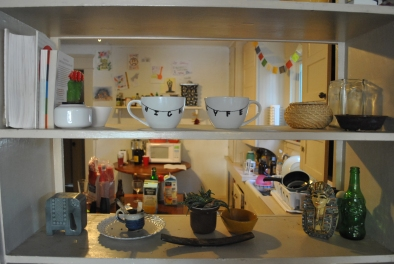 A decorative view into the kitchen.